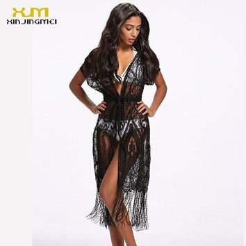 DCCKLW8 Bikini Cover Up Women Long Beach Mesh Dress Cover Ups Swimsuit 2017 Strappy Cardigan Blouse Knit Hollow Bathing Suit TS043