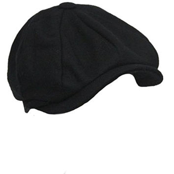 Pipi Cool Women Men Tweed Newsboy Beret Peaked Cap Cabbie Hat Stretch black
