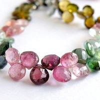 Tourmaline Briolette Gemstone AAA Multi Pink Green Yellow Faceted Heart top Drilled Large 6mm 1/2 Strand LAST