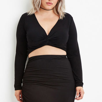 Plus Size Twisted Front Crop Top