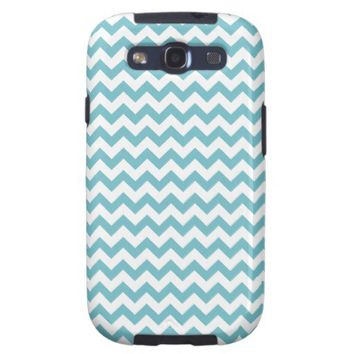 Blue Curacao And White Zigzag Chevron Pattern Samsung Galaxy S3 Cases from Zazzle.com