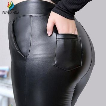 ONETOW Push Up Leather High Waist Leggings Fitness Black Trousers Tracksuit Bottoms Pants Winter Sexy Workout Plus Size 5XL Jeggings