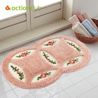 Actionclub PVC Mesh Coral Fleece Outdoor Mats Bathroom Home Area Rugs Water Bath Accent Rugs Anti Slip Anti-Bacteria Rugs HH1659