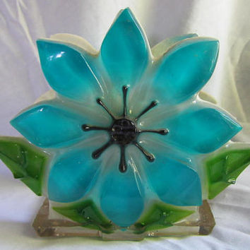 Retro 1960s Heavy Lucite Resin Letter or Napkin Holder Daisy Blue White & Green Kitch New Designs, Inc. Mid Century