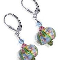 SCER123 Sterling Silver 13mm Majestic Blown Glass Crystal Earrings Made with Swarovski Elements
