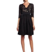 Eliza J Women's Lace Scallop Dress, Black, 6