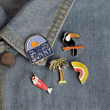 Trendy Cartoon Enamel Coconut Tree Crow Rainbow Pineapple Ice cream Brooch Pin Denim Jacket Collar Badge Pins Button Summer Jewelry AT_94_13