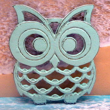 Owl Trivet Hot Plate Beach Light Blue Cottage Chic Shabby Chic Distressed Kitchen Rustic Woodsy Decor Beachy Nautical Ornate Cast Iron