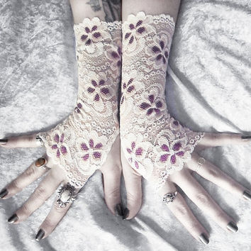 Teagan Lace Fingerless Gloves - Off White Pale Ivory Violet Purple Plum Floral - Wedding Gothic Regency Goth Austen Bridal Fetish Gypsy