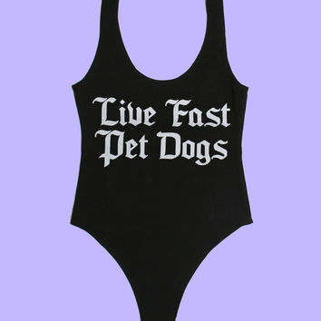 LIVE FAST PET DOGS BODYSUIT