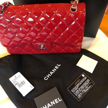 Chanel Jumbo Double Flap Dark Red Patent Leather Classic Shoulder Bag