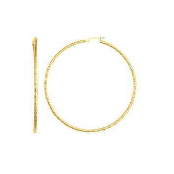 14kt Yellow Gold Large Diamond Cut Statement Hoop Earring