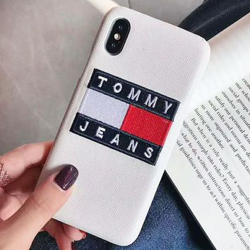 TOMMY New Fashion Embroidery Letter Couple Personality Protective Cover Phone Case White