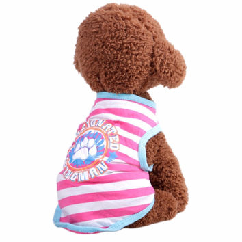 2017 Pet Clothing Summer And Autumn Breathable Striped Vest Teddy Dog Fashion Soft Clothes Harness Puppies Accessories