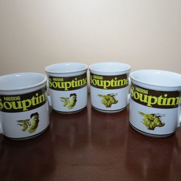 Set of 4 Vintage Nestle Chicken and Beef Souptime Mugs
