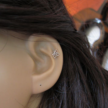 Sterling Silver Celtic knot Cartilage Earring, Knot stud earring,  tiny cartilage, Tragus,Tiny stud Earring, silver cartilage, cross earring