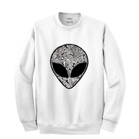 Paisley Alien Head Sweater Jumper UNISEX