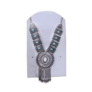 Antique Silver Plated Black Blue Statement Necklace With crystal