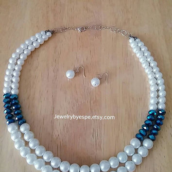 Royal Blue Crystals & White Pearls Bridal Necklace-Strand Necklace-Bib Necklace-Bridesmaid Necklaces-Statement Necklace-Layered Necklace