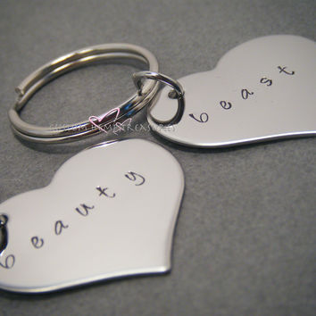 Beauty Beast heart Keychains, Couple keychain, Stamped Keychains, Couples Gift, Heart Keychains, Couples Keychains , Anniversary Gift
