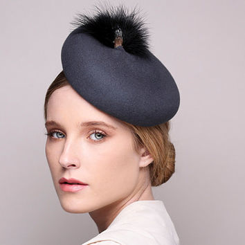 Gray Cocktail Hat -  Pillbox Fascinator Hat with Feathers -  Vintage hats - Womens Hats Pill Box Church Hats