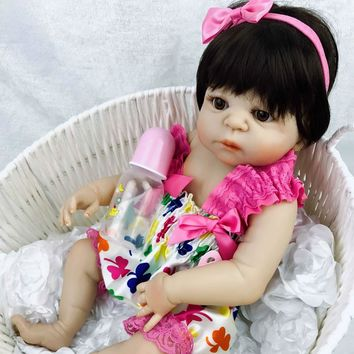 23 inch White skin Baby Dolls Realistic Full Silicone Vinyl Alive Girl Doll Reborn Baby Doll For Children Gifts