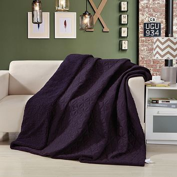 Eggplant Aubergine Reversible Soft Stitched with Sherpa Backside Quilted Ultra Sonic Throw Blanket Coverlet Bedspread (BJ0106)