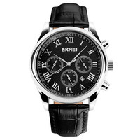 SKMEI 9078 Men's Fashionable 3-Dial 6-Pointer Analog 30M Water Resistant Business Wrist Watch with Citizen Movement & Leather Band (Black)