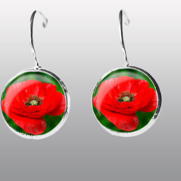 RED Poppy Earring. Red Dangle Earrings. Red poppy Jewelry. Art poppy Post Earrings. Gift for Women and Girls.
