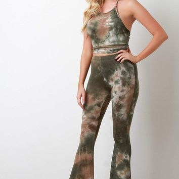 Tie Dye Jersey Knit Halter Top With High Rise Flared Pants Set