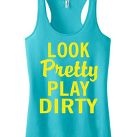 Look pretty play dirty Racerback Fitness Tank Top Workout Shirt Motivational Tank Top Gym Shirt Workout Tank Top Aqua Ice IPW00039 MZ