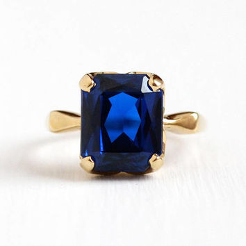 Vintage 10k Yellow Gold Created Dark Blue Spinel Ring - 1950s Size 7 3/4 Retro 6 1/2 Carat Cobalt Stone September Birthstone Fine Jewelry