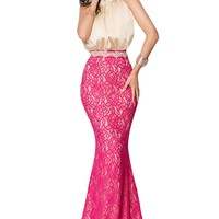 Chicloth Bow Tie High Neck Silk Lace Fishtail Prom Dress