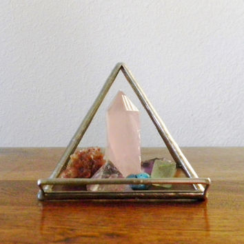Clear Stained Glass Pyramid Business Card Holder - Made to Order