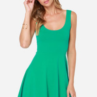 Devil May Flare Green Dress