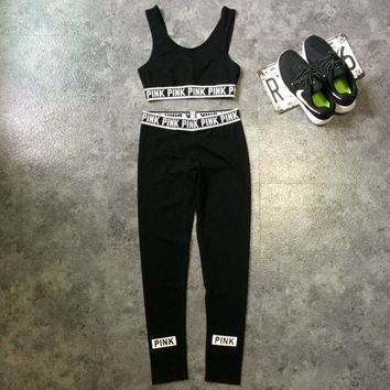 DCCKB62 PINK Victoria's Secret Sport Vest Pants Trousers Sweatpants Two-Piece Set Sportswear