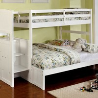 Appenzell white finish wood Twin over Full bunk bed with staircase end with storage drawers and panel look design