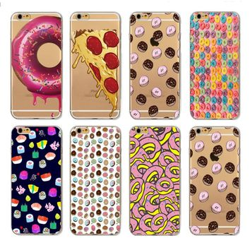 Italy Pizza Donuts Japane Sushi Soft Silicone Phone Case Cover Fundas Coque For iphone 6 S 7 7Plus 6S 6Plus 8 8Plus X 5 S 5S SE