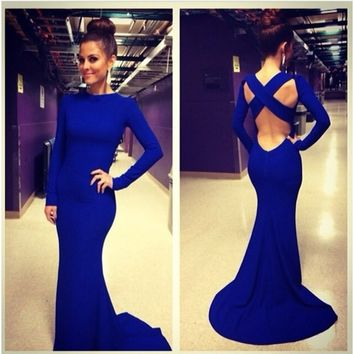 2014 Fashionable Criss Cross Straps Low Back Formal Evening Gown Sexy Royal Blue Long Sleeve Prom Dresses