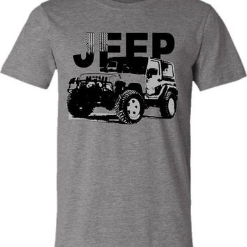 Jeep Wrangler T-shirt-Off Road Tshirt in Heather Grey