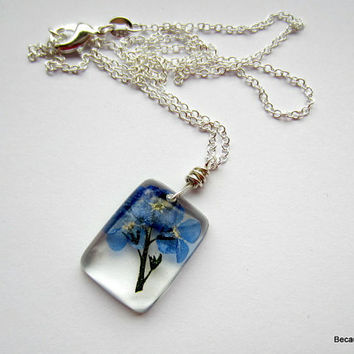 Real Flower Resin Necklace, Pressed Flower Pendant, Dried Flower Jewelry, Forget Me Not Necklace, Sterling Silver