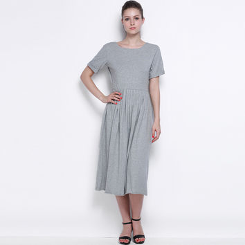 Grey Backless Patchwork A-line Pleated Deep O-Neck Dress