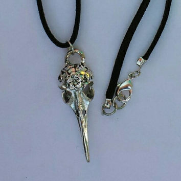 Antique Silver Raven Skull Choker Necklace Day of the Dead Birds Bone Goth ...Of Beauty And Rage