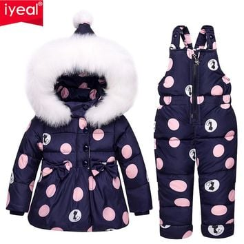 IYeal Newest Children Girls Clothing Sets Winter hooded Duck Down Jacket + Trousers Waterproof Snowsuit Warm Kids Baby Clothes