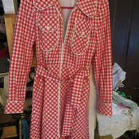 60s-70s s  Saks fifth avenue red white gingham check ladies  trench coat   made  france