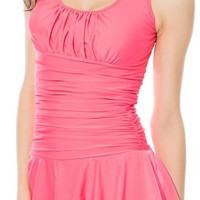Light Pink Sleeveless Ruched Skirt Swimwear