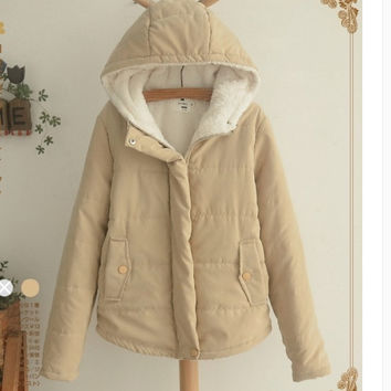 Hooded cotton-padded jacket to add more wool coat Khaki
