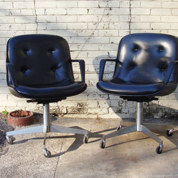 Mid Century Modern Black Charles Pollock Style Steelcase Swivel Rolling Vintage Office Chairs, MESSAGE FOR SHIPPING