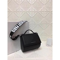 DCCK Givenchy Paris Fashion Women Men Gb39616 Givenchy Logo Wide Shoulder Strap Decorated With Black Pandora Box Handbag