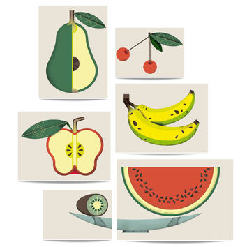 Puzzle print set 'Fruits in a fruits basket'. Fruits illustrations for the kitchen or the dinning room.